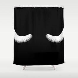 black and white eyelashes Shower Curtain