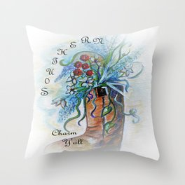Southern Charm Y'all Throw Pillow