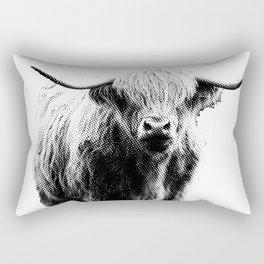 Newspaper Print Style Highland Cow. Scotland, Bull, Horns. Rectangular Pillow