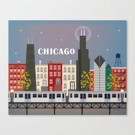 Chicago, Illinois - Skyline Illustration by Loose Petals Canvas Print