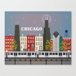 Chicago, Illinois - Skyline Illustration by Loose Petals Canvas Print