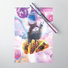 Space Sloth Riding Llama Unicorn - Taco & Donut Wrapping Paper