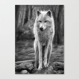 White Wolf in the Forest Canvas Print