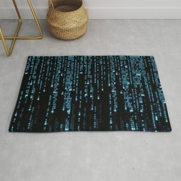 Matrix Binary Blue Code Rug