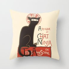 A French Ninja Cat (Le Chat Ninja) Throw Pillow