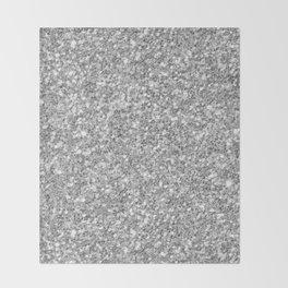 Silver Gray Glitter Throw Blanket