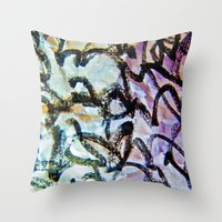 calligraphy Throw Pillows featuring Imaginary Calligraphy by Blank & Vøid