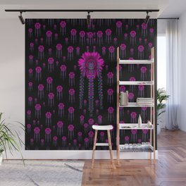 jungle flowers in the dark Wall Mural