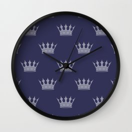 Royal Blue with Light Blue Crowns Wall Clock