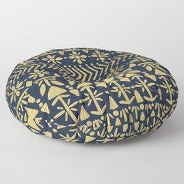 Norwegian Pattern – Gold on Navy Floor Pillow