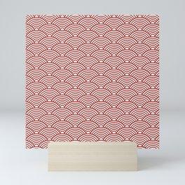 Japanese Waves (Maroon & White Pattern) Mini Art Print