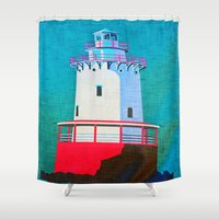 lighthouse Shower Curtains featuring Lighthouse by Judy Palkimas