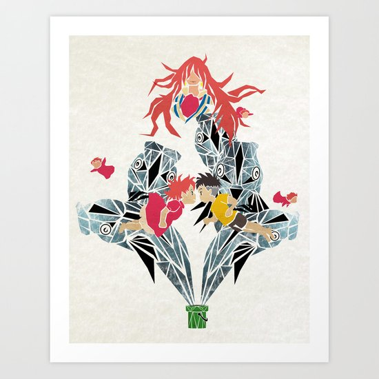 ponyo on the cliff by the sea Art Print