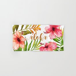 Aloha Watercolor Tropical Hawaiian leaves and flowers Hand & Bath Towel
