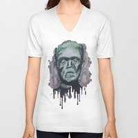 frankenstein V-neck T-shirts featuring Frankenstein by Shellie Mix