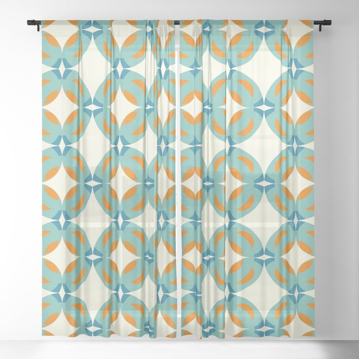 Hiderigami - Colorful Decorative Abstract Art Pattern Sheer Curtain