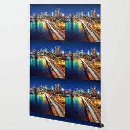 New York City Lights Blue Wallpaper