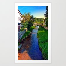 A river, a bridge and lots of green | waterscape photography Art Print