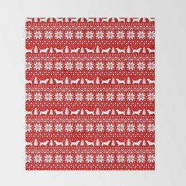 Basset Hound Silhouettes Christmas Sweater Pattern Throw Blanket