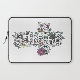 Psalm 51:10 Cross with scripture, drawing by Sandy Thomson.  Laptop Sleeve