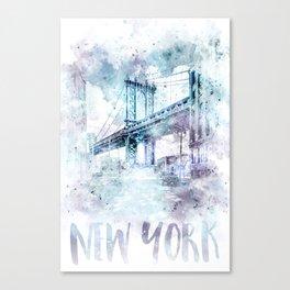 Modern Art NYC Manhattan Bridge | watercolor Canvas Print