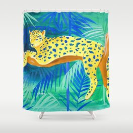 Leopard on Tree Shower Curtain