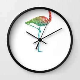 Colorful Flamingos Rainbow Flamingo Wall Clock