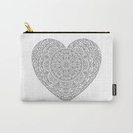 Mandala Heart with Flowers and Leaves for Adult Coloring Carry-All Pouch