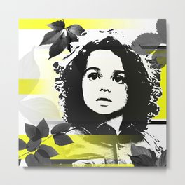 Adorable Face Among the Leaves Metal Print