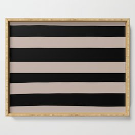 Rosy Mauve Pink, Blushing Bride, Cathedral Morning Hand Drawn Fat Horizontal Stripes on Black Serving Tray