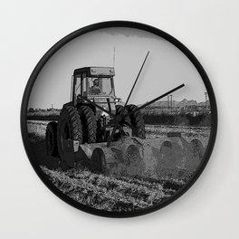Black & White Harvesting Equipment Pencil Drawing Photo Wall Clock