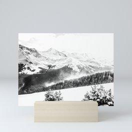 Fresh Snow Dust // Black and White Powder Day on the Mountain Mini Art Print
