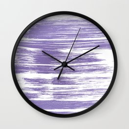 Modern abstract lilac lavender white watercolor brushstrokes Wall Clock