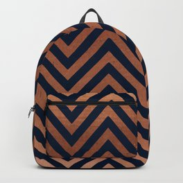 Navy blue and copper chevron Backpack