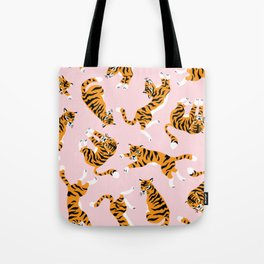 Cute tiger in the tropical forest hand drawn on pink background illustration Tote Bag