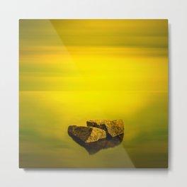 Minimalist misty seascape with rocks at long exposure. Coastal Sunrise. Metal Print