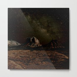 Bell Rock and Courthouse Butte under the Milky Way night Sky in Sedona AZ. Metal Print
