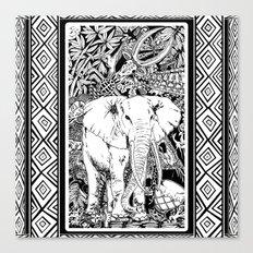 White Elephant Indian Ink Tribal Art Canvas Print