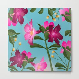 Desert Rose House Plant/Tropical Flower Pattern/Pink, Turquoise and green Metal Print