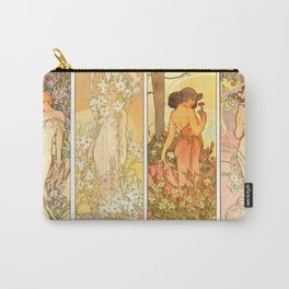 "Alphonse Mucha ""The Flowers (series): Iris, Lily, Carnation, Rose"" Carry-All Pouch"
