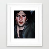 vampire diaries Framed Art Prints featuring Ian Somerhalder (Damon from Vampire Diaries) by Britanee LeeAnn Sickles