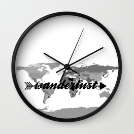 Wanderlust Black and White Map Wall Clock