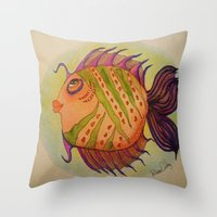 potter Throw Pillows featuring MRS. POTTER by Caribbean Critters Co.