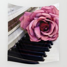 Piano Keys With Rose Wall Tapestry