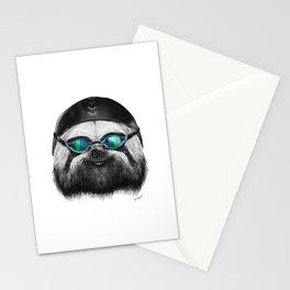 SLOTH SWIMMER Stationery Cards