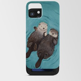 Otterly Romantic - Otters Holding Hands iPhone Card Case