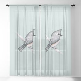 Tufted titmouse Sheer Curtain