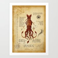 kraken Art Prints featuring Kraken by Laurence Andrew Page Illustrator