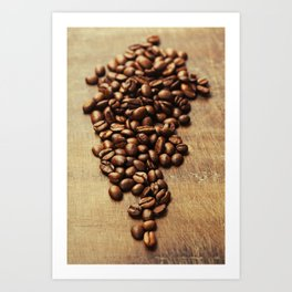 Coffee beans on wooden background Art Print