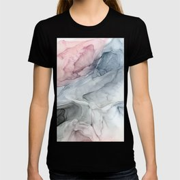 Pastel Blush, Grey and Blue Ink Clouds Painting T-shirt